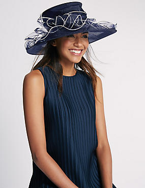 Large Foldable Fluted Hat, NAVY MIX, catlanding