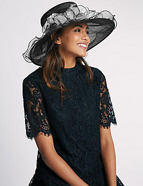 Large Foldable Fluted Hat, BLACK MIX, catlanding