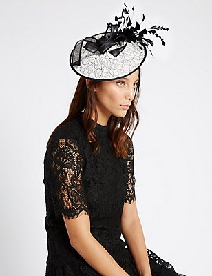 Lace Disc Fascinator, BLACK MIX, catlanding