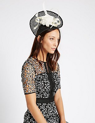 Teardrop Disc Fascinator, BLACK MIX, catlanding