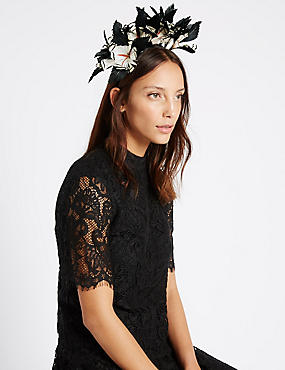 Flower Band Fascinator, BLACK MIX, catlanding