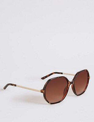 Hexagonal Frame Oversized Sunglasses, BROWN MIX, catlanding