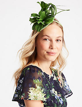 Feather Twisted Bow Fascinator, GREEN, catlanding