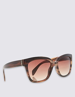 Angular Cat Eye Sunglasses, BROWN MIX, catlanding