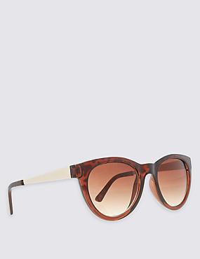 Metal Arm Cat Eye Sunglasses, BROWN MIX, catlanding