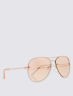 Refined Aviator Sunglasses, PINK, catlanding