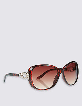Embellished Oversized Sunglasses, BROWN MIX, catlanding