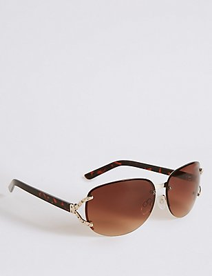 Diamante Rimless Rectangle Sunglasses, BROWN MIX, catlanding