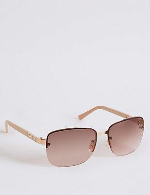 Jewel Rimless Rectangle Sunglasses, NUDE, catlanding
