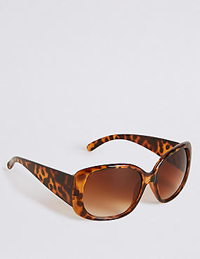 Rectangular Wrap Oversized Sunglasses, BROWN MIX, catlanding