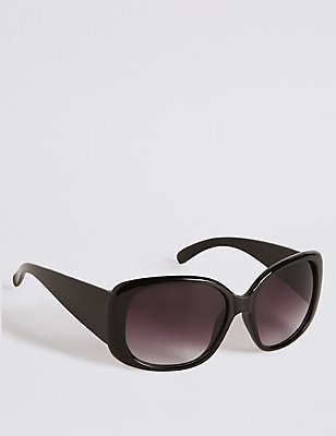 Rectangular Wrap Oversized Sunglasses, BLACK, catlanding