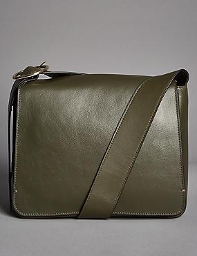 Leather Across Body Bag, KHAKI, catlanding