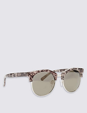 Marble Clubmaster Oversized Sunglasses, PINK MIX, catlanding