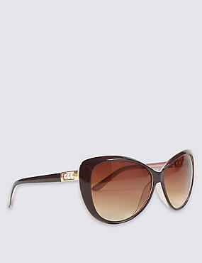 Pearl Arm Detail Oversized Sunglasses, BROWN MIX, catlanding