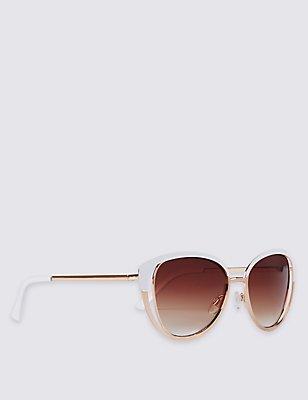 Enamel Cut Oversized Sunglasses, WHITE, catlanding