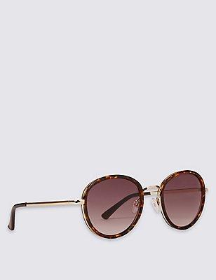Metal Bridge Tortoise Oversized Sunglasses, BROWN MIX, catlanding