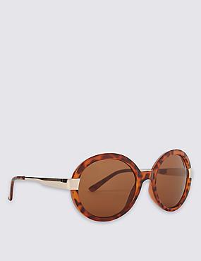 Glam Round Oversized Sunglasses, BROWN MIX, catlanding