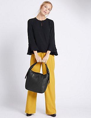 Leather Softy Hobo Bag, BLACK, catlanding