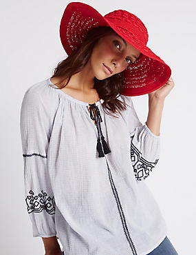 Tassel Floppy Summer Hat, RED, catlanding