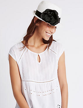 Corsage Trilby Hat, WHITE MIX, catlanding