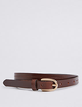 Leather Stitched Hip Belt, BROWN, catlanding