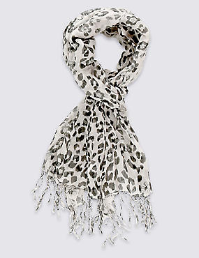 Pure Modal Leopard Floral Scarf