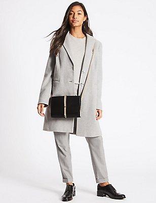 Faux Leather Stud Tab Cross Body Bag, , catlanding