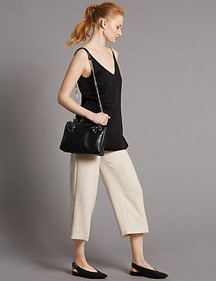 Leather Eyelet Across Body Bag, BLACK, catlanding