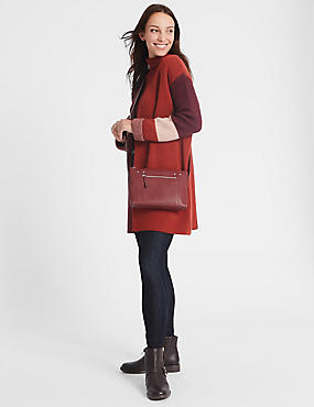 Leather Cross Body Bag, RASPBERRY, catlanding