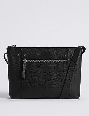 Leather Cross Body Bag, BLACK, catlanding