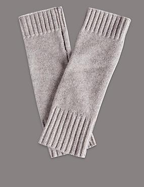 Gebreide vingerloze handschoenen van kasjmier, GRIJS, catlanding