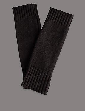 Gebreide vingerloze handschoenen van kasjmier, ZWART, catlanding