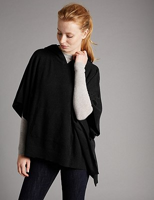 Pure Cashmere Hooded Poncho, BLACK, catlanding
