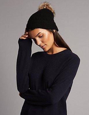 Pure Cashmere Bobble Winter Hat, BLACK, catlanding