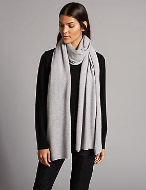 Pure Cashmere Textured Scarf, GREY, catlanding
