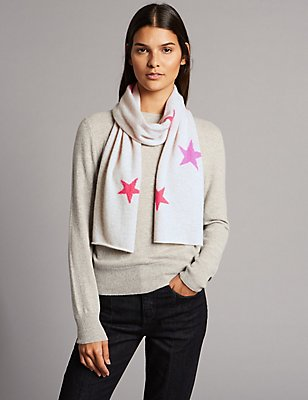 Pure Cashmere Star Print Scarf, OATMEAL MIX, catlanding