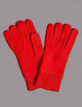 Pure Cashmere Gloves, RED, catlanding