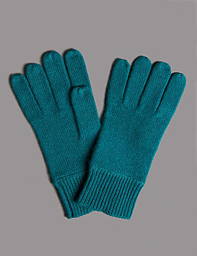 Pure Cashmere Gloves, TEAL, catlanding