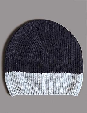 Bonnet beanie 100% cachemire à motif color block, BLEU MARINE ASSORTI, catlanding