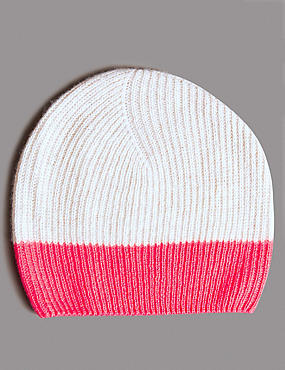 Pure Cashmere Colour Block Beanie Hat, OATMEAL MIX, catlanding