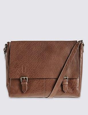 Leather Buckle Satchel Bag, , catlanding