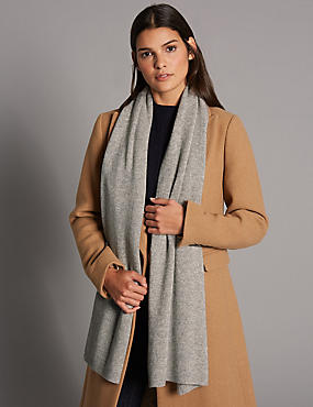 Pure Cashmere Ribbed Colour Block Scarf , LIGHT GREY, catlanding