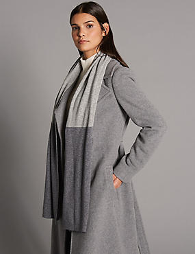 Pure Cashmere Ribbed Colour Block Scarf , GREY MIX, catlanding