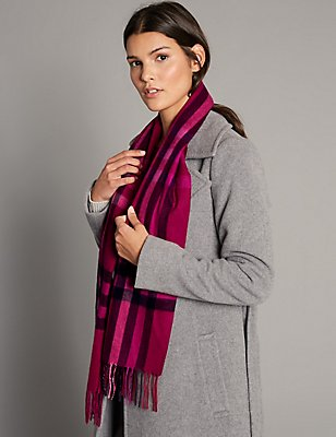 Pure Cashmere Checked Scarf, PINK MIX, catlanding