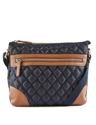 Стёганая сумка через плечо с лакированными вставками от Marks & Spencer