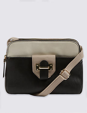 Faux Leather Colour Block Across Body Bag