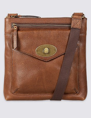 Leather Turnlock Messenger Bag, TAN, catlanding