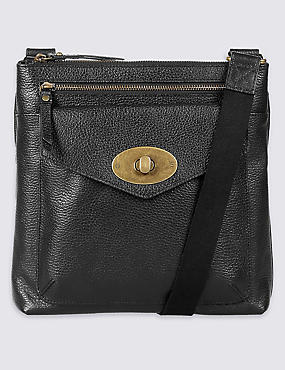 Leather Turn-Lock Messenger Bag, BLACK, catlanding
