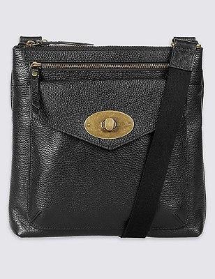 Leather Turnlock Messenger Bag, BLACK, catlanding