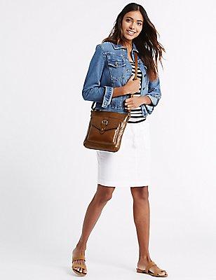 Leather Buckle Across Body Bag, TAN, catlanding